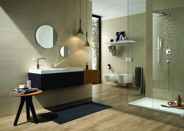 parquet salle de bain, carrelage mural en gris perle, meuble sous ...