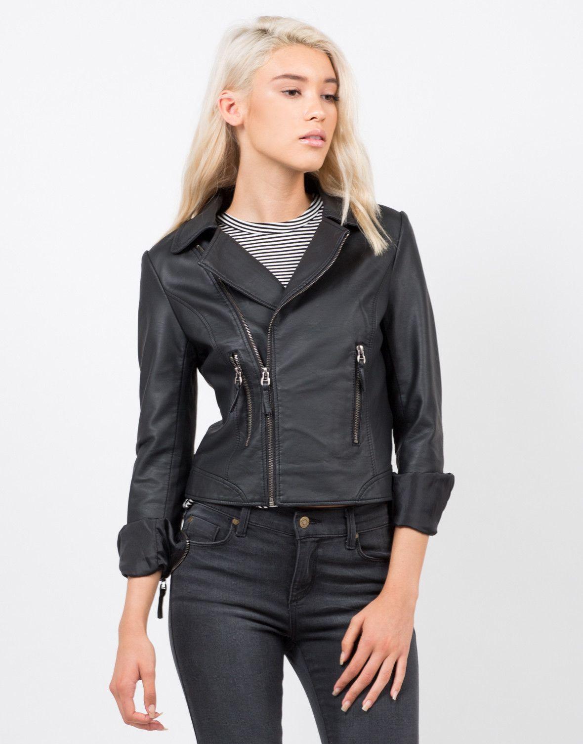 Pleather Moto Jacket Leather jacket black, Jackets, Moto