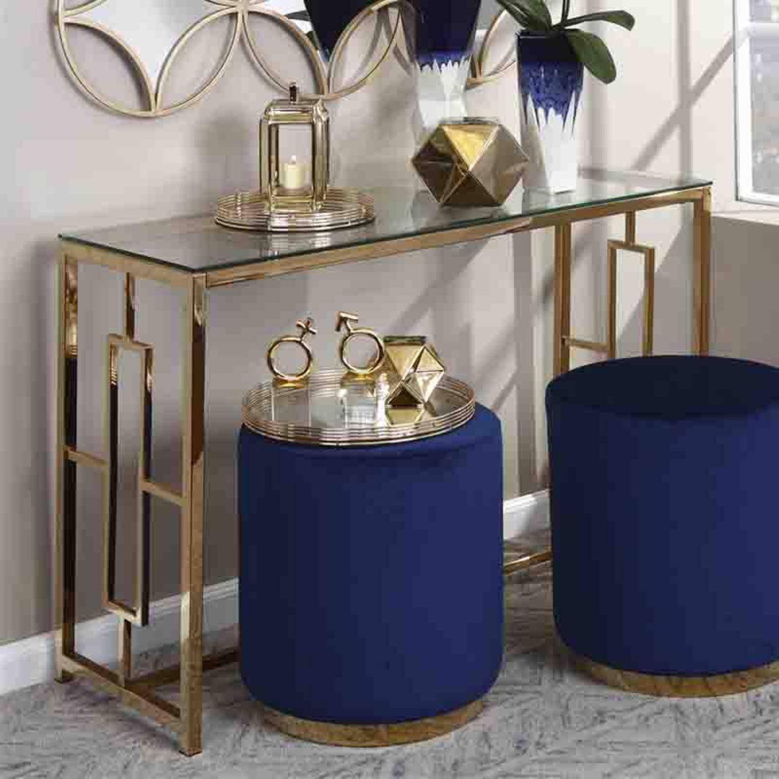 Sagebrook Home Gold Metal Console Table Metal Console Table Blue Living Room Decor Console Table Decorating Gold metal console table