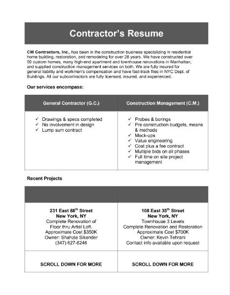 Sample Resume Of General Contractor - Template