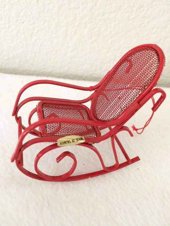 Awe Inspiring Vintage Miniature Rocking Chair Ornament Red Metal Machost Co Dining Chair Design Ideas Machostcouk