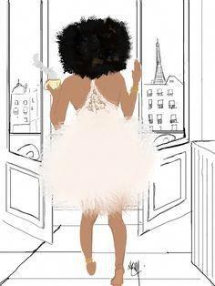 French Artist, Nicholle Kobi, Brings Black Girl Magic To Life Through Her Illustrations #BlackwomenCurvesBooties