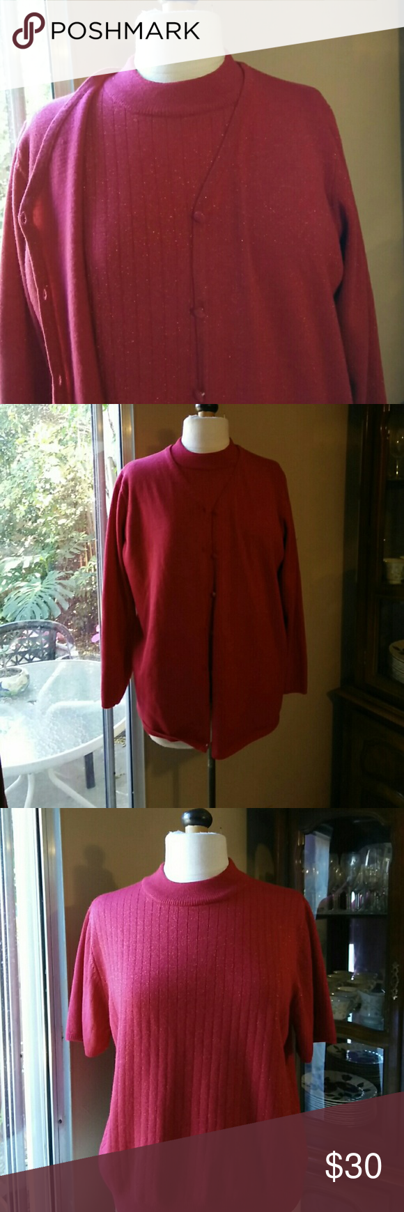 Red Sparkle Holiday sweater set Short sleeved shell, long sleeved Cardigan Sag Harbor Sweaters Cardigans