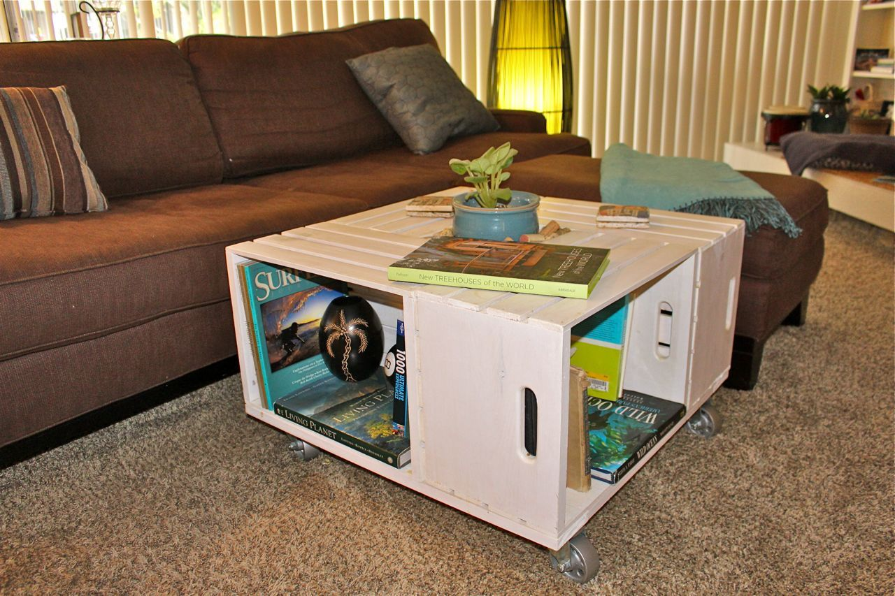 Painted crate coffee table coffee tables pinterest for Painted crate ideas