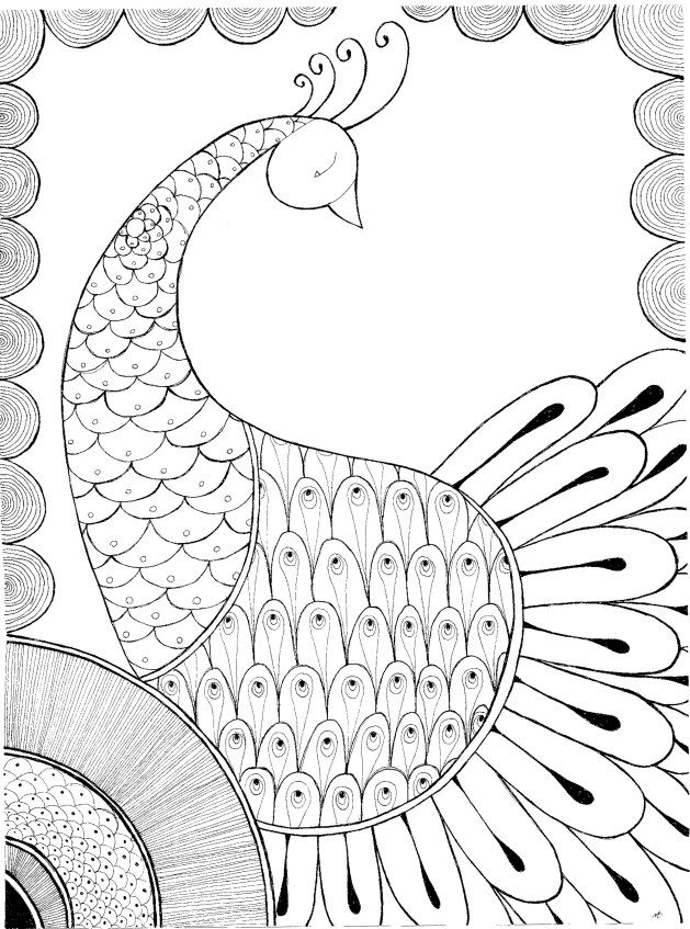 peacock henna coloring page available as pdf for easy printing