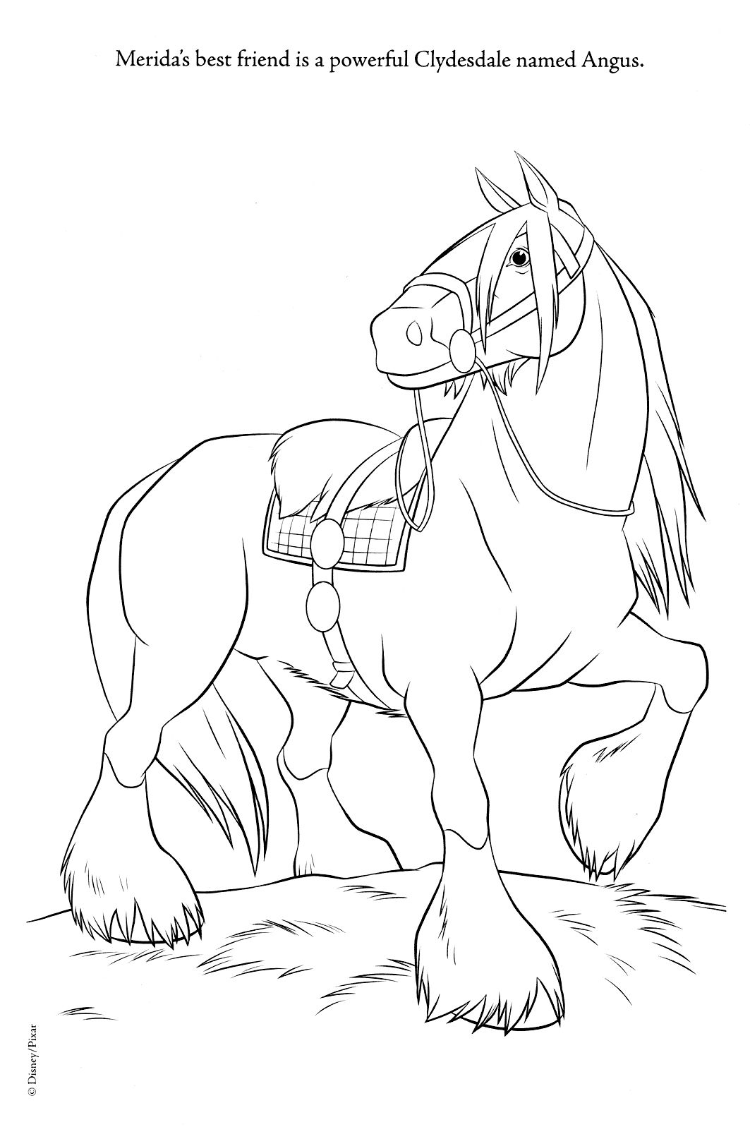 Disney horse coloring pages - Brave Coloring Pages Horse Angus Brave Photo