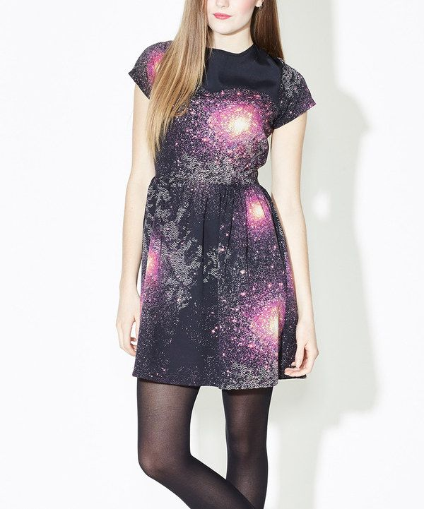 Look at this Black Cosmic Cap-Sleeve Dress on #zulily today!