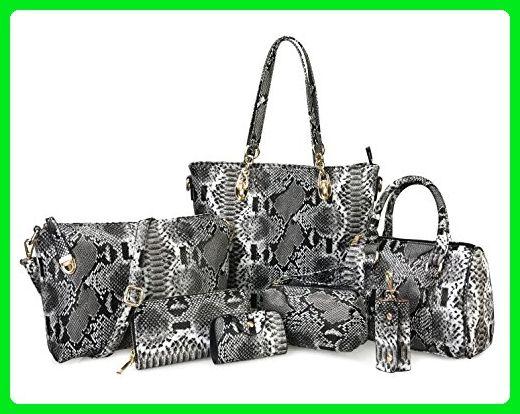 Hoxis Pack of 7 Bags Women Multi-purpose Classic Design Patent Purse  Leatherette Shoulder Handbag(Dark Snake Pattern) - Satchels ( Amazon  Partner-Link) 90d163c1a1614