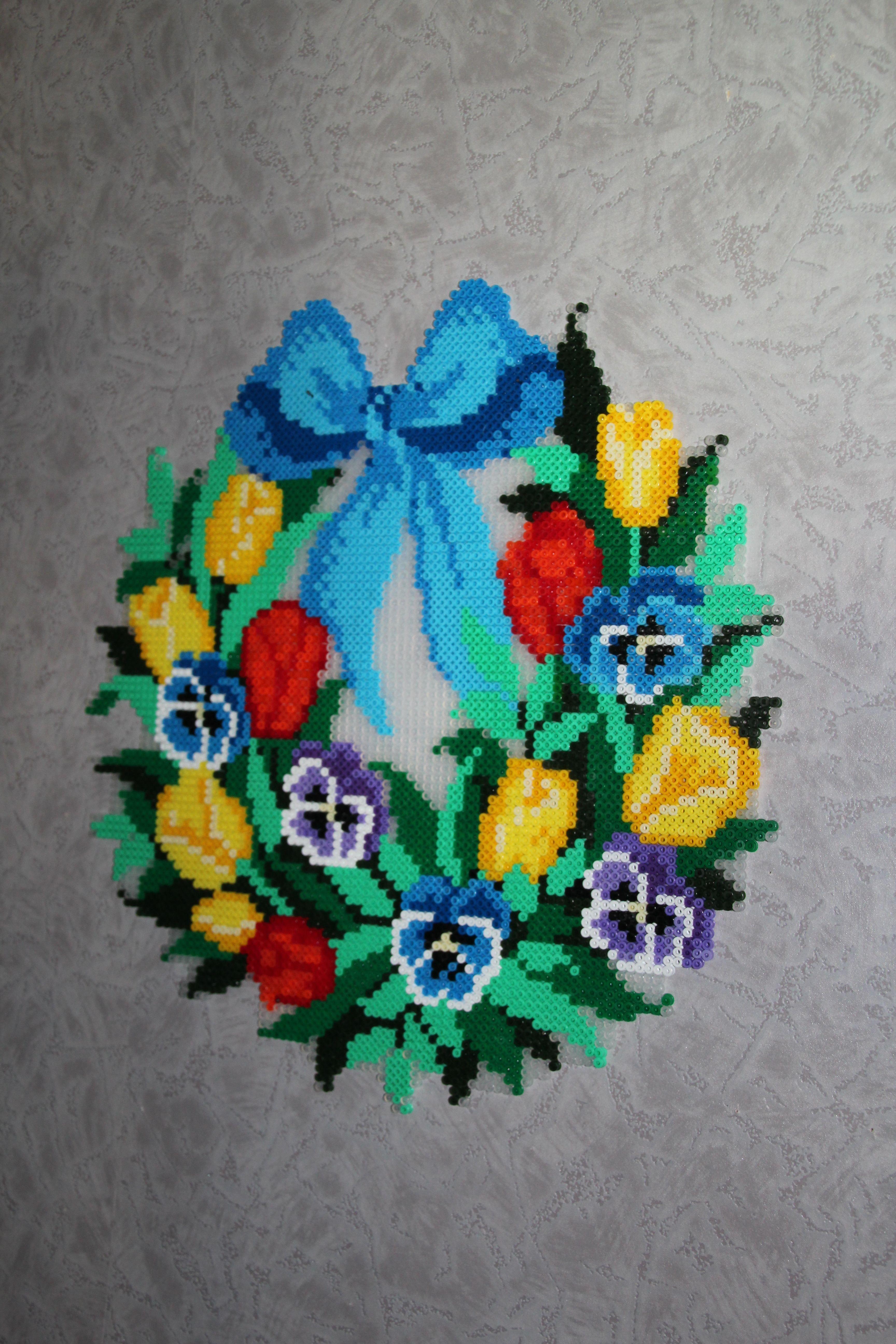 couronne de fleurs en perles hama perler flowers