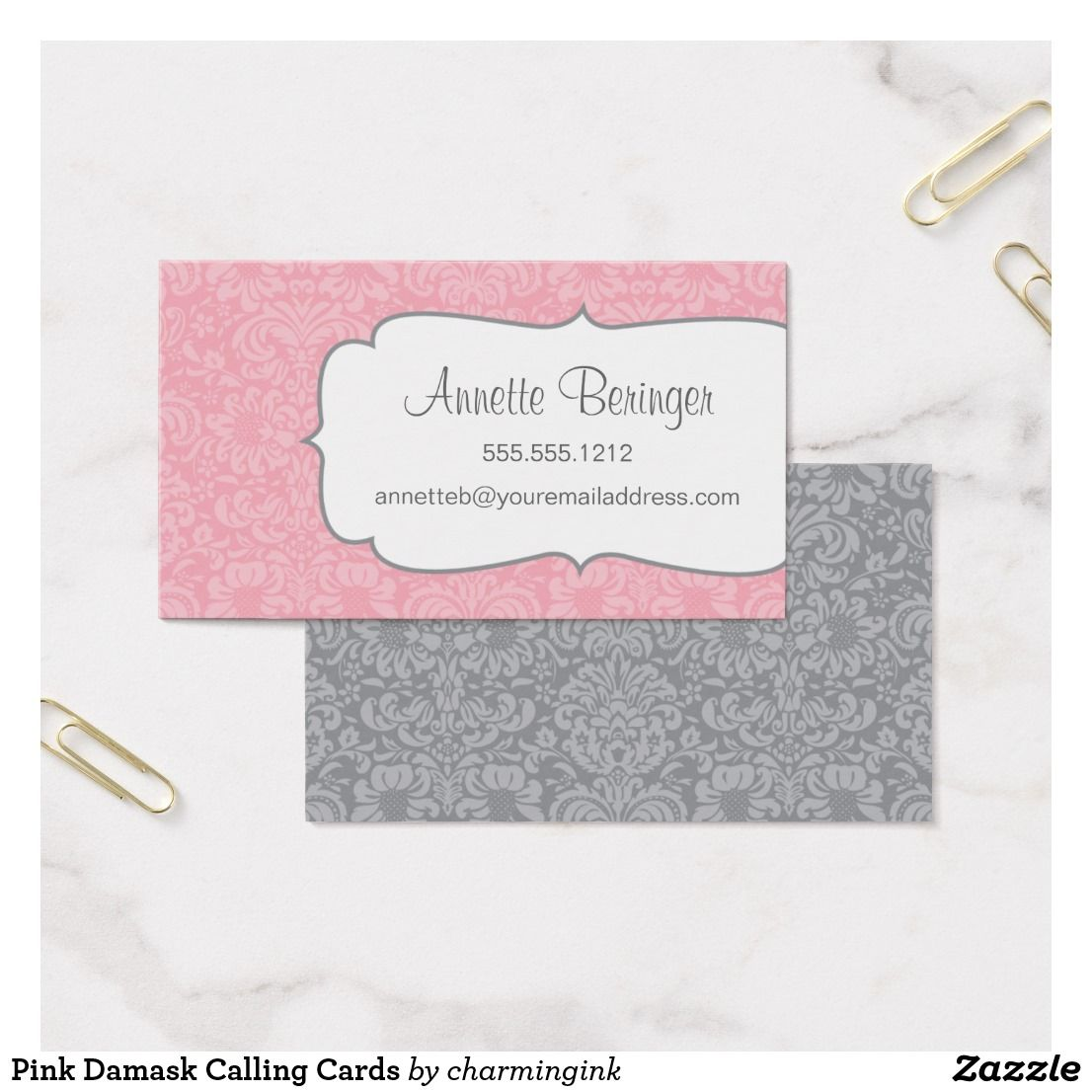 Pink damask calling cards business pinterest pink damask and pink damask calling cards reheart Gallery