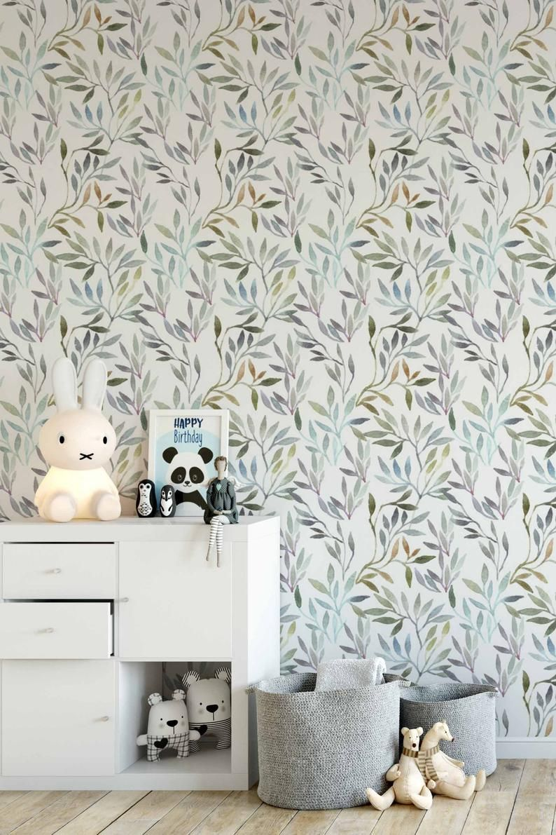 Botanical Removable Wallpaper Peel And Stick Wallpaper Botanical Self Adhesive Wallpaper Watercolor Wallpaper With Leaves Pattern 209 Removable Wallpaper Peel And Stick Wallpaper Self Adhesive Wallpaper