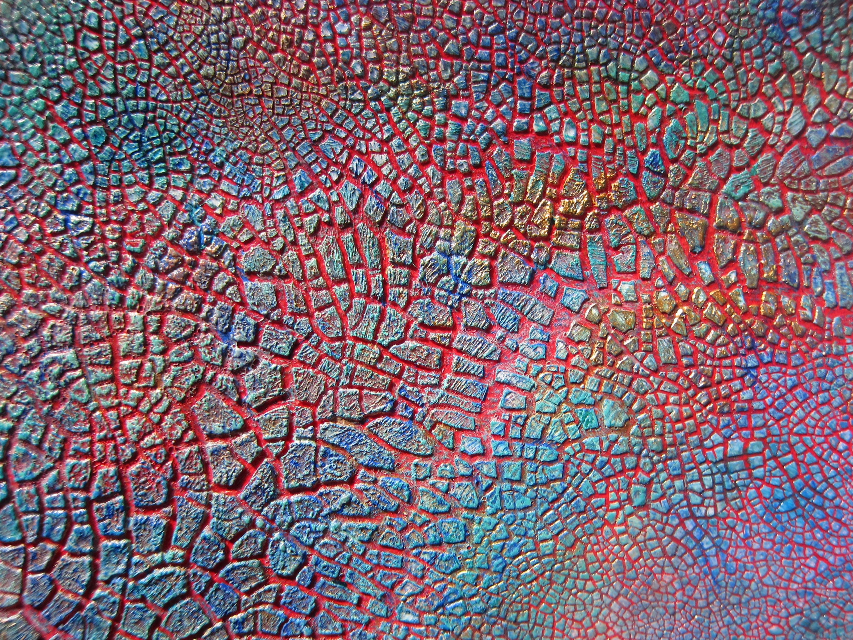 Dry brushed acrylic colours on kroma crackle with red for Acrylic background techniques