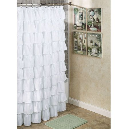 Maribella White Ruffled Shower Curtain Ruffle Shower Curtains