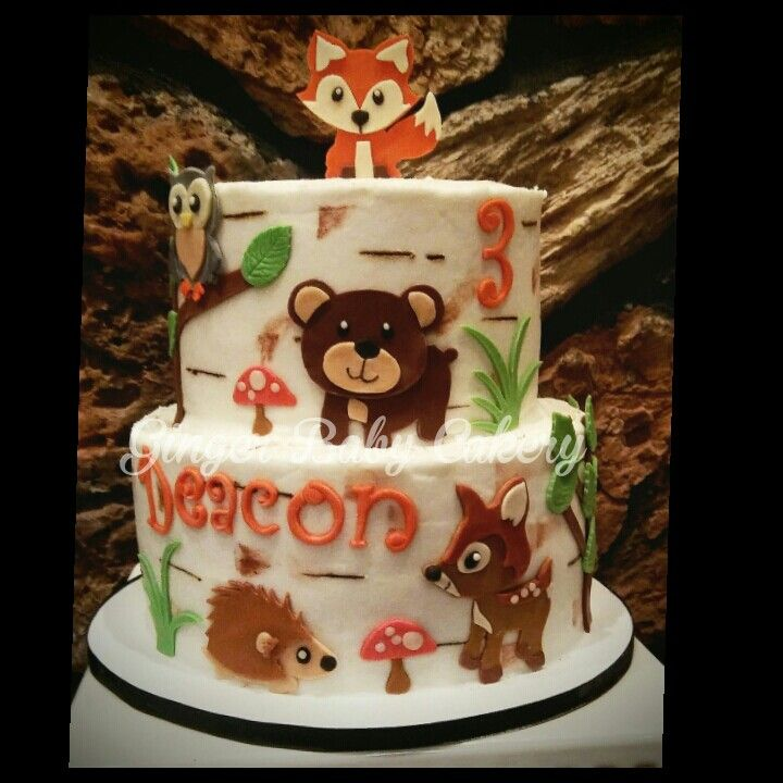 Woodland animal birthday cake Fox deer bear owl porcupine