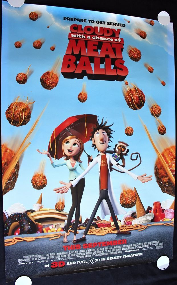 Cloudy With A Chance Of Meatballs 2009 Animation Movieposter Meatballs Movie Animated Movies Kids Movies