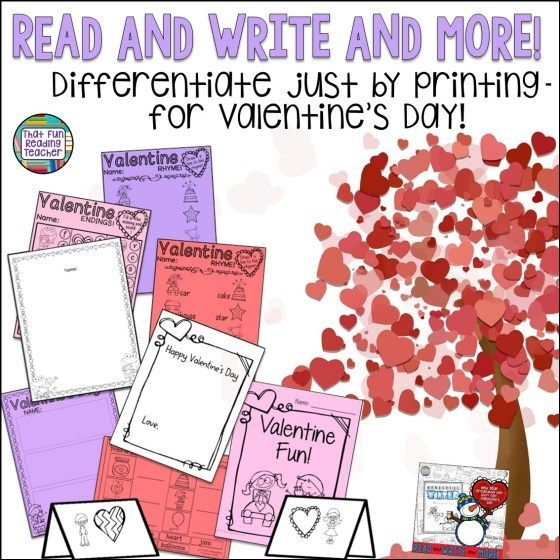 Read and Write and More - Differentiate just by printing - for Valentine's Day!
