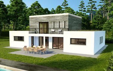 Maison contemporaine home plan maison maison moderne et maison moderne toit plat - Petite maison toit plat ...