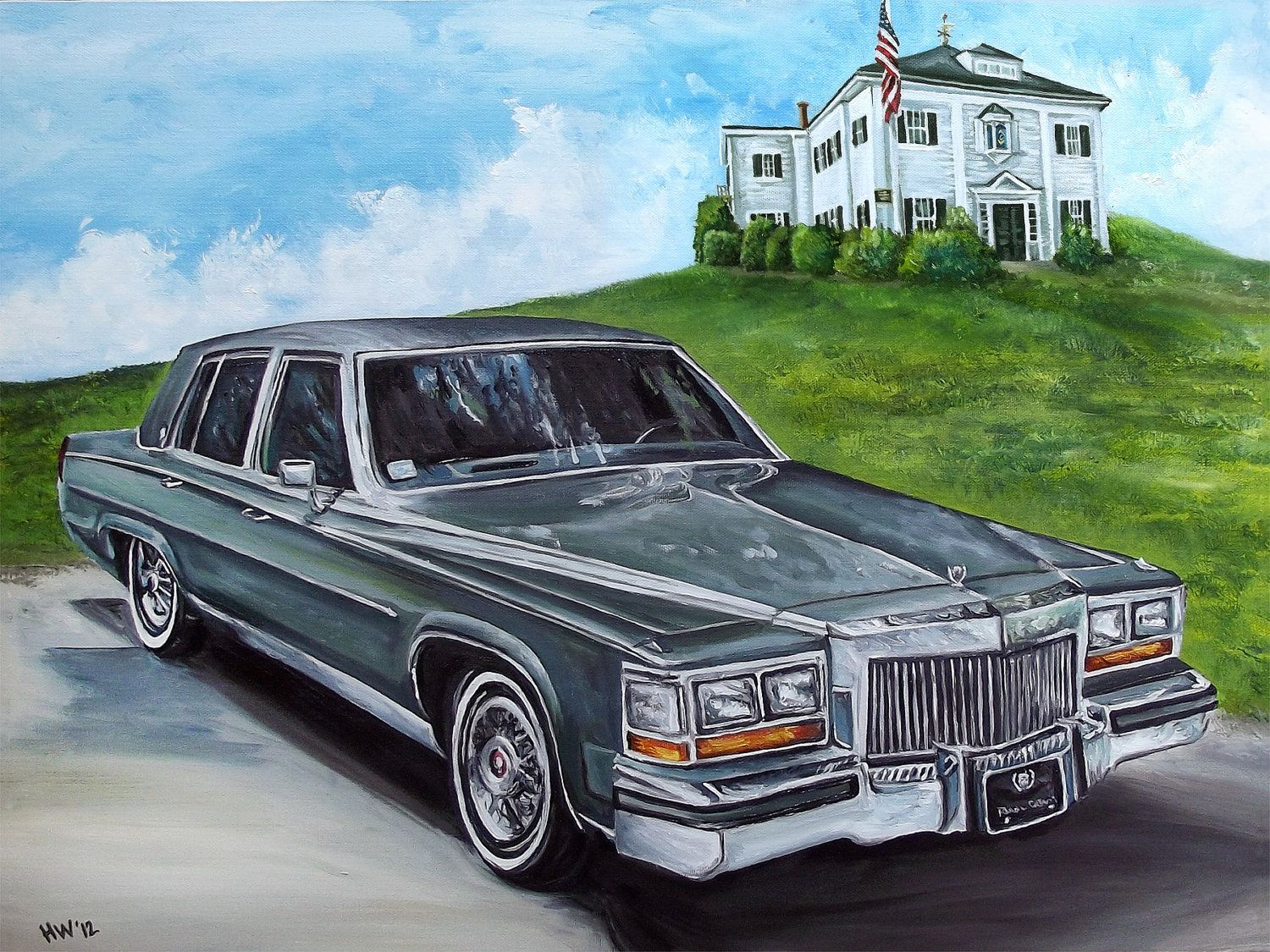 old cadillac cars car painting classic cadillac original oil painting old antique car