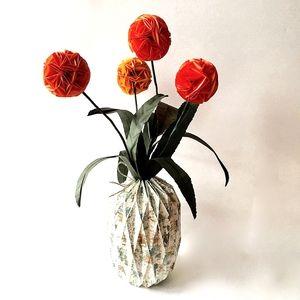 Origami Allium Flowers In Artistic Origami Vase