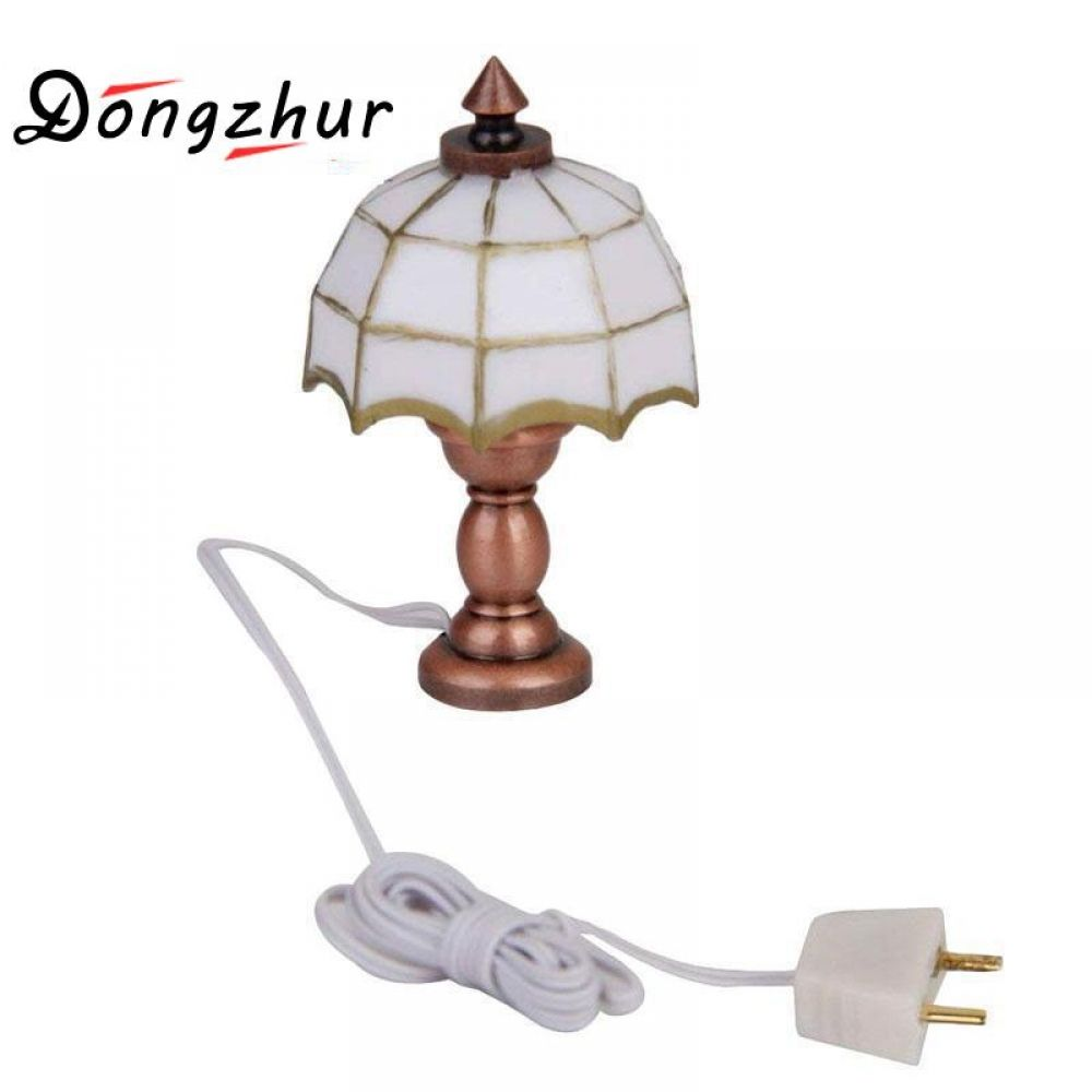 Dongzhur 1 12 Doll House Miniature Desk Table Lamp 12 Volt Working Light Dollhouse Accessories Mini White Table Lamp Miniature Desk White Table Lamp Dollhouse Accessories