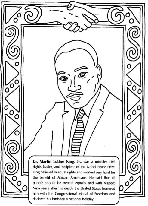 MLK Color Page Black History Month Art, Black History Month Crafts, Black  History Month Activities