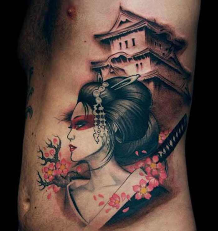 geisha and samurai unique japanese tattoo designs tattoo pinterest japanese tattoo designs. Black Bedroom Furniture Sets. Home Design Ideas