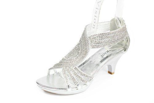 JJF Shoes Angel37 Silver Strappy Rhinestone Dress Sandal Low