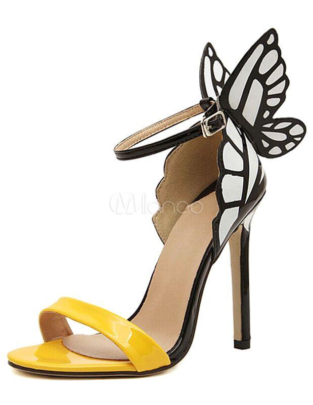 Sandales femme de robe à talon aigu en PU verni avec papillon beau