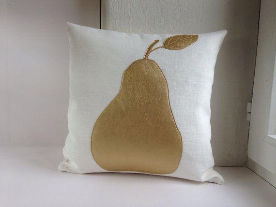 Pear Pillow Cover - pillow case 40x40 cm (ca. 16x16 in), off-white linen with golden pear applique, zipper