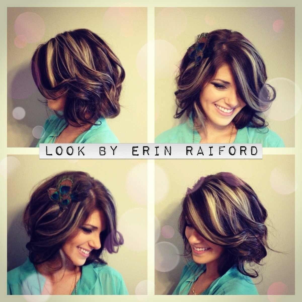 Chunky highlights # medium length bob# wavey curls # short hair