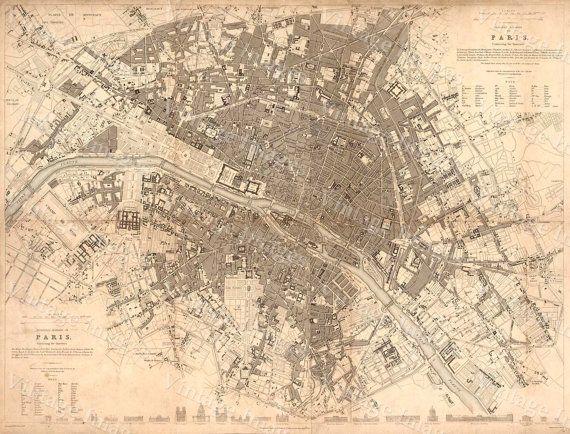 Vintage Paris Map Historic Large Map Of Paris Restoration Old - Large map of paris france