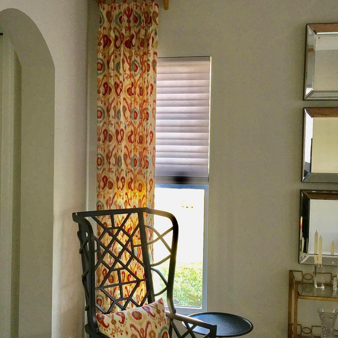 Window Treatments Interiordesign: Custom Drapery Side Panel With Bamboo Pole And Hardware