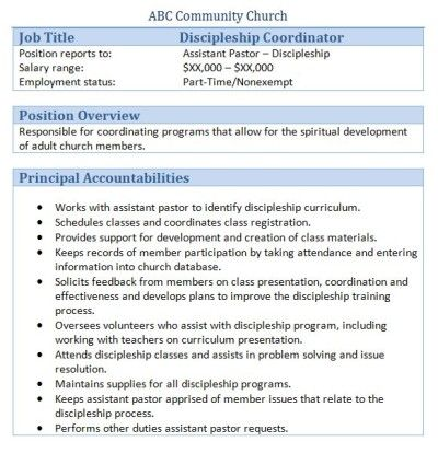 church discipleship coordinator job description - Church Administrator Salary