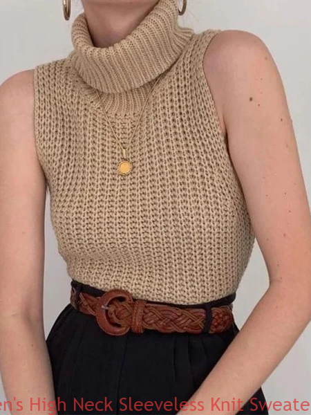 High Neck Sleeveless Knit Sweater Vest