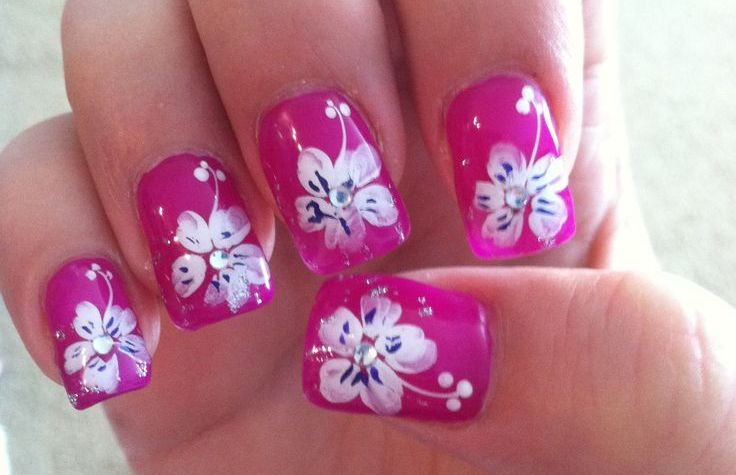 tropical flower nail design art