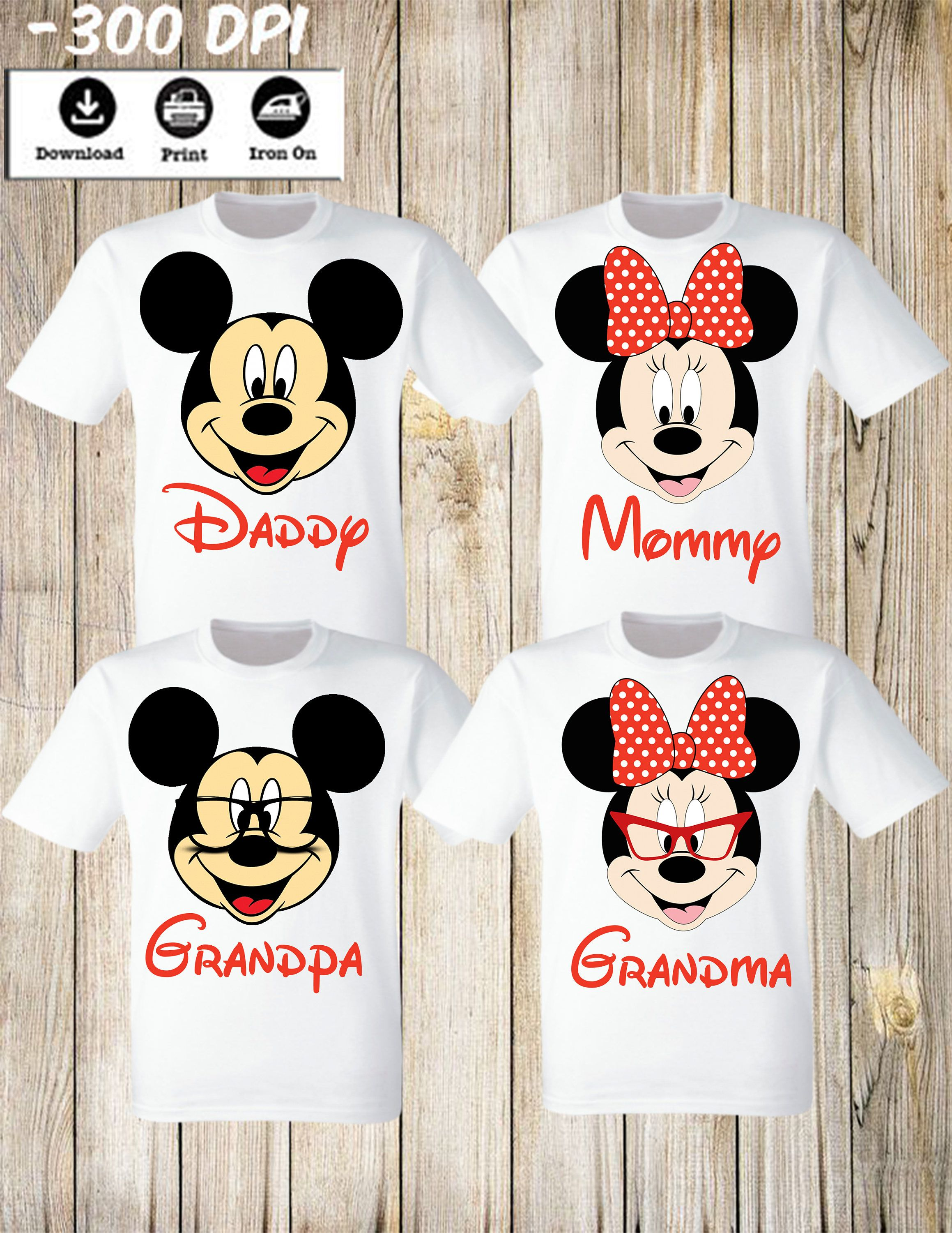 00a73fea2e5e Disney Mickey Minnie Family Set of 4 T Shirts iron on. Mickey Minnie Mouse  Grandpa Grandma Daddy Mommy Family Set. Personalized Matching by ...