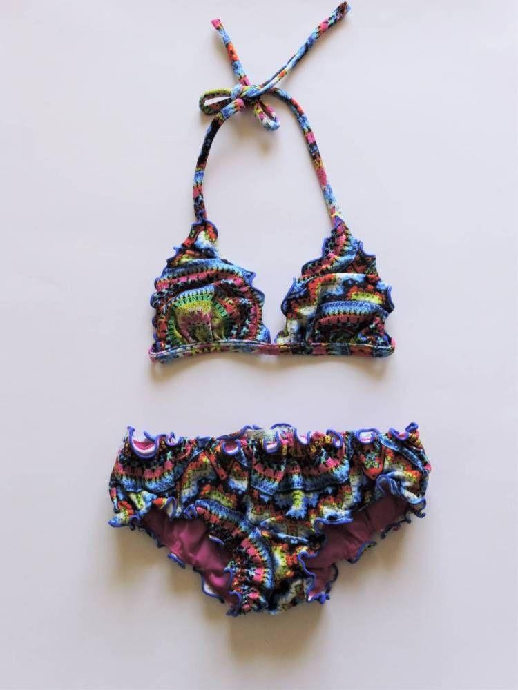 6401aa12f785 Biquíni frufru infantil - Crochê Moda Praia Infantil, Biquínis Infantil,  Maio Infantil, Coisa