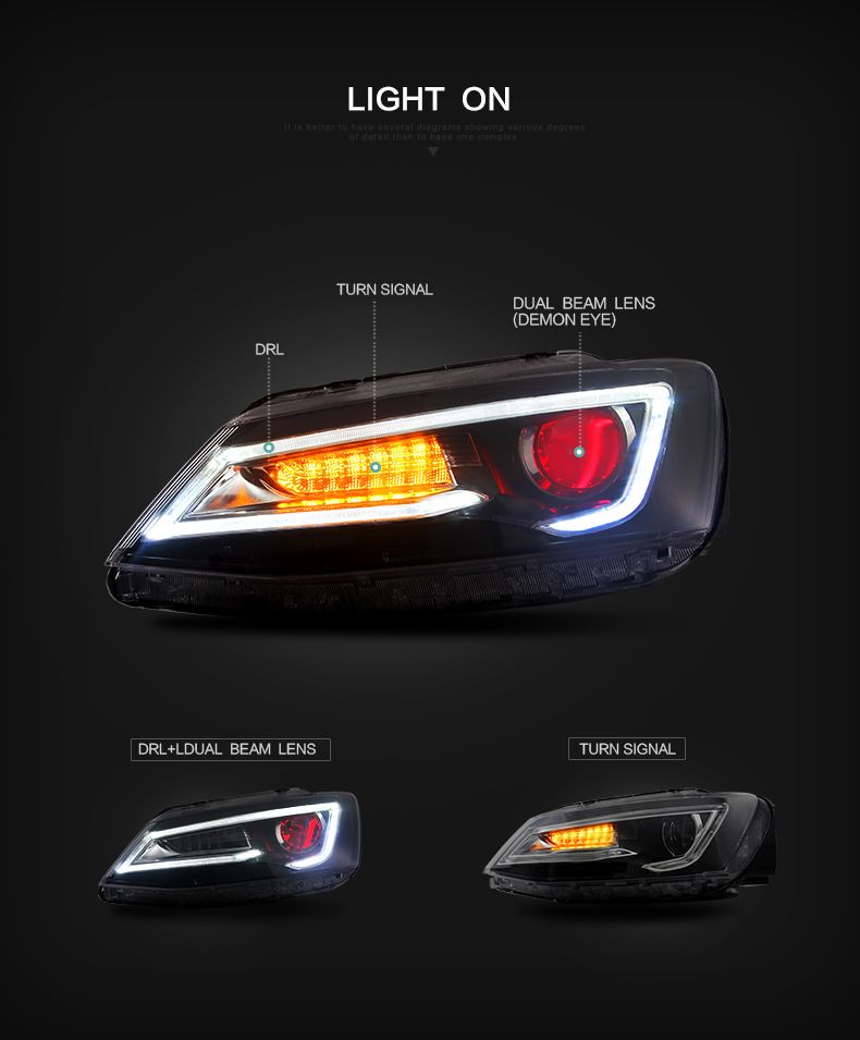 Vland Whole Car Accessories Projector Lights For Jetta Sagitar 2017 Up Led Headlights Volkswagen Sagita Not Gli Head Lamp