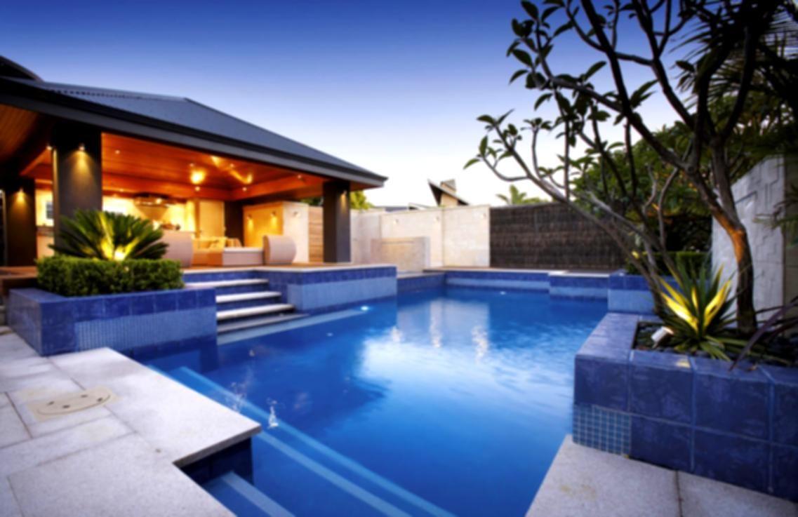 Green Backyard Landscaping Design Ideas With Rectangular Pool