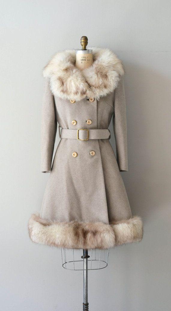 vintage coat fur trimmed coat evening coat long wool jacket vintage wool coat long winter jacket wool jacket faux fur coat