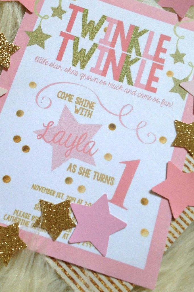 Layla's Pink & Gold Twinkle Twinkle Little Star 1st Birthday ...