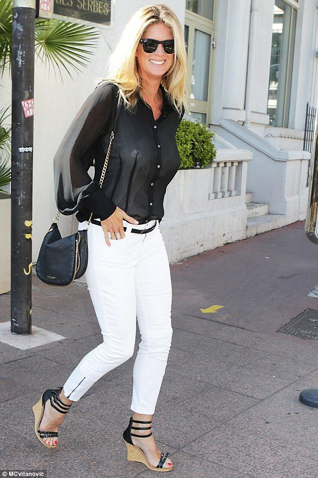 5d6faffed32 Sheer beauty  The 45-year-old went for a risque blouse as she headed out  shopping in the South of France