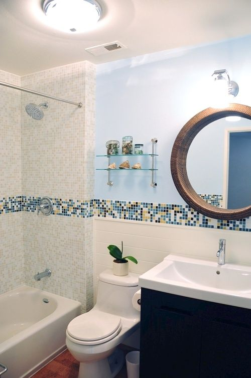 modern bath design in kaleidoscope colorways winter blend glass mosaic tile with chocolate blues glass mosaic