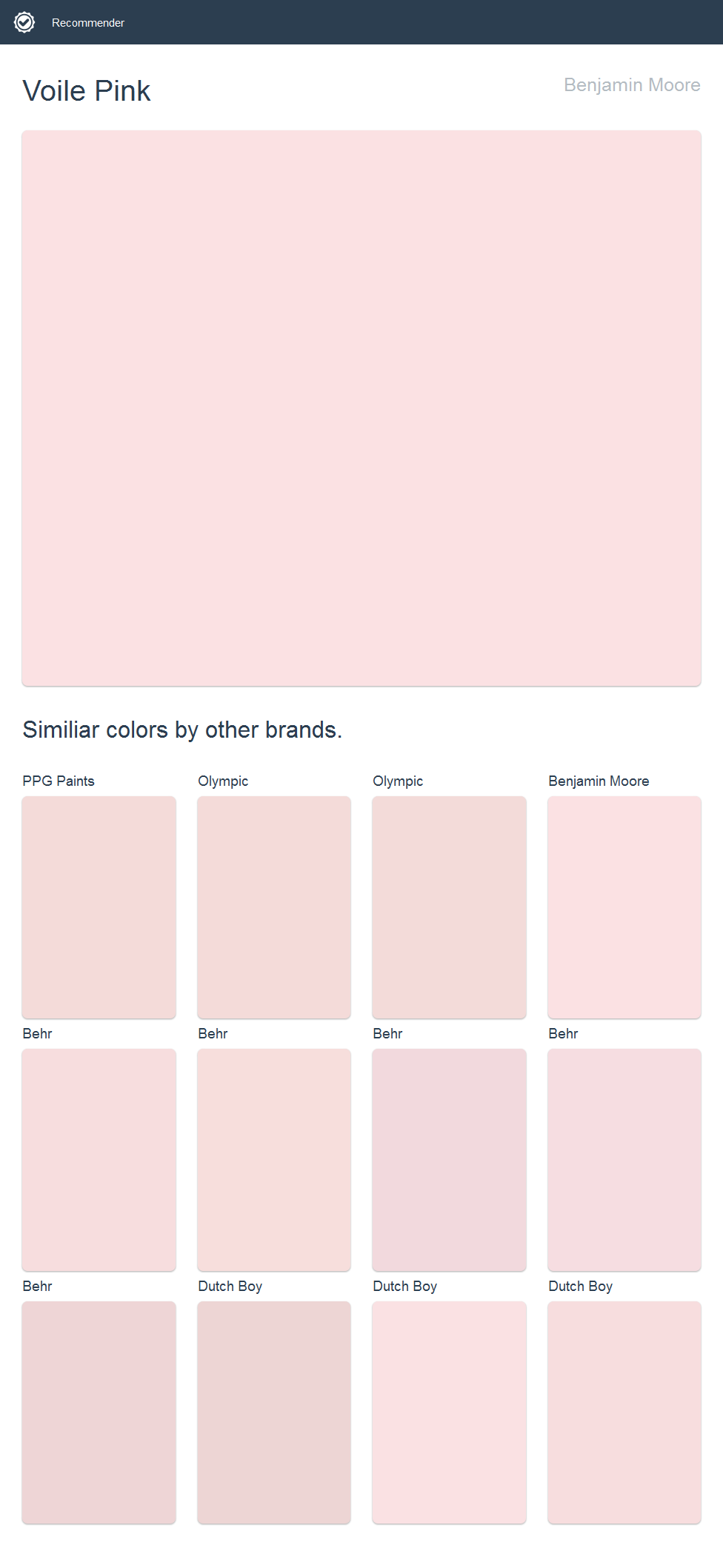 Voile Pink, Benjamin Moore. Click the image to see similiar colors by other brands.