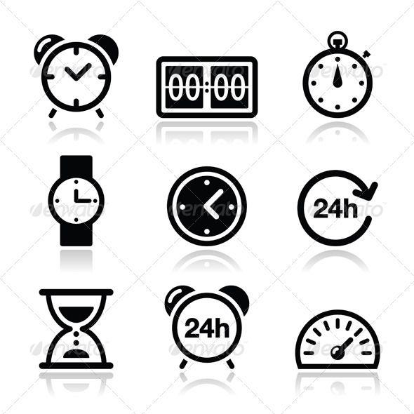 Time Clock Vector Icons Set Icon Set Vector Icon Set Time Icon