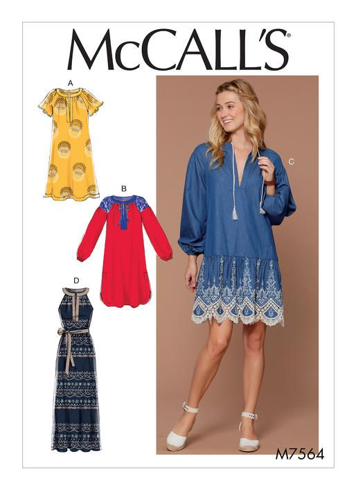 McCall\'s boho dress sewing pattern. M7564 Misses\' Pullover, Banded ...