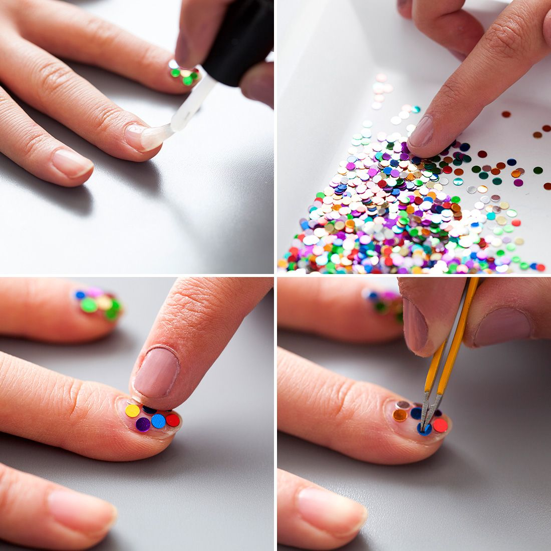 Colorful confetti nail art is perfect for NYE. - - Nails - | Pinterest