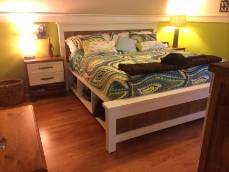 King Size Farmhouse Storage Bed First Build Do It Yourself Home
