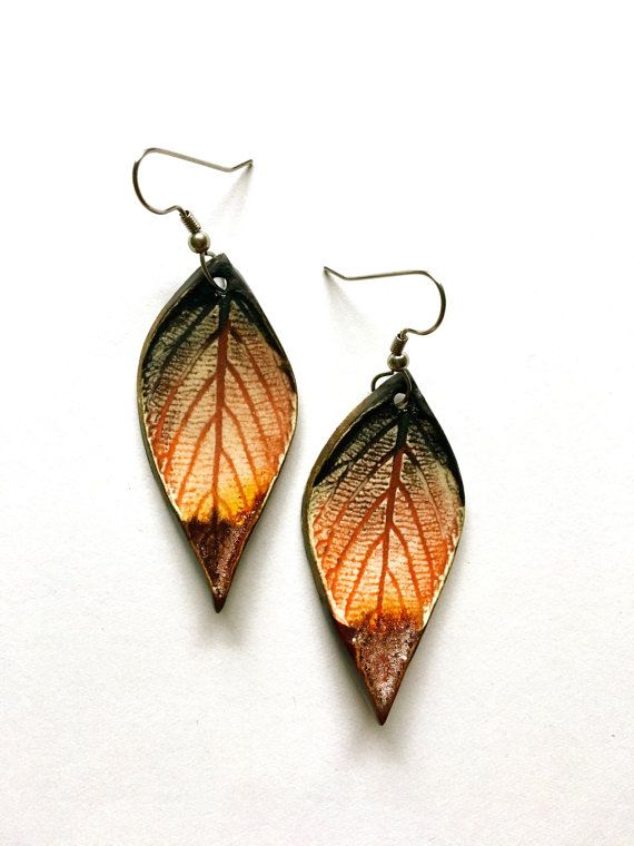 Medium Autumnal Ceramic Leaf Earrings by AlainaSheenDesigns