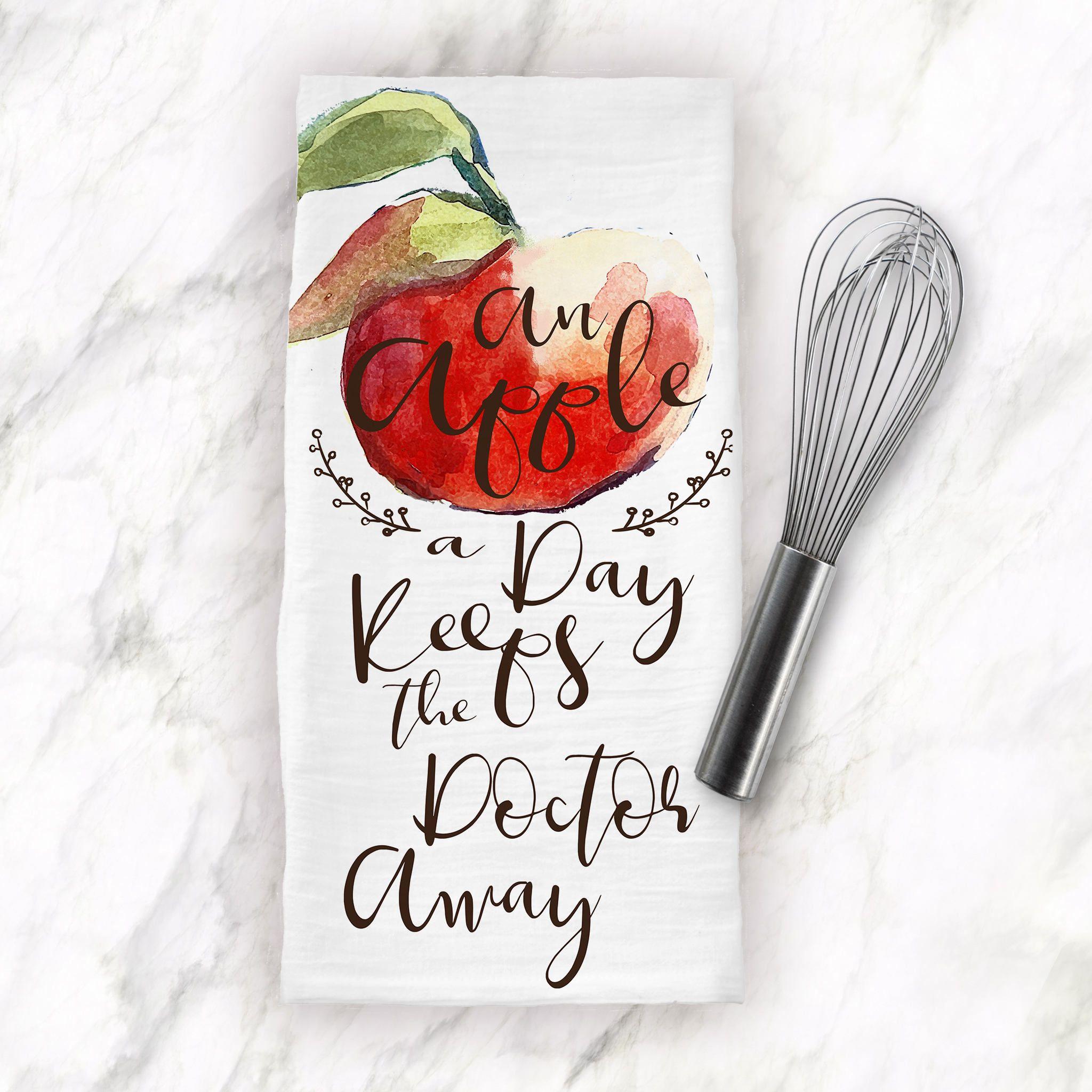 Apple Kitchen Decor, Apple Tea Towel, An Apple A Day, Keeps Doctor ...